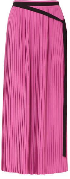 MM6 MAISON MARGIELA Pleated Crepe Maxi Skirt - Fuchsia