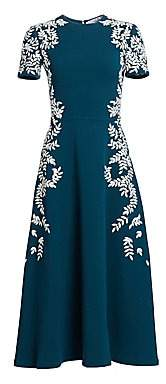 Oscar de la Renta Women's Short Sleeve Embroidered Leaf Wool-Blend Dress