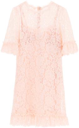 Dolce & Gabbana LACE MINI DRESS WITH RUFFLES 38 Pink Cotton