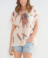 Paparazzi Tan Feather Short-Sleeve Top
