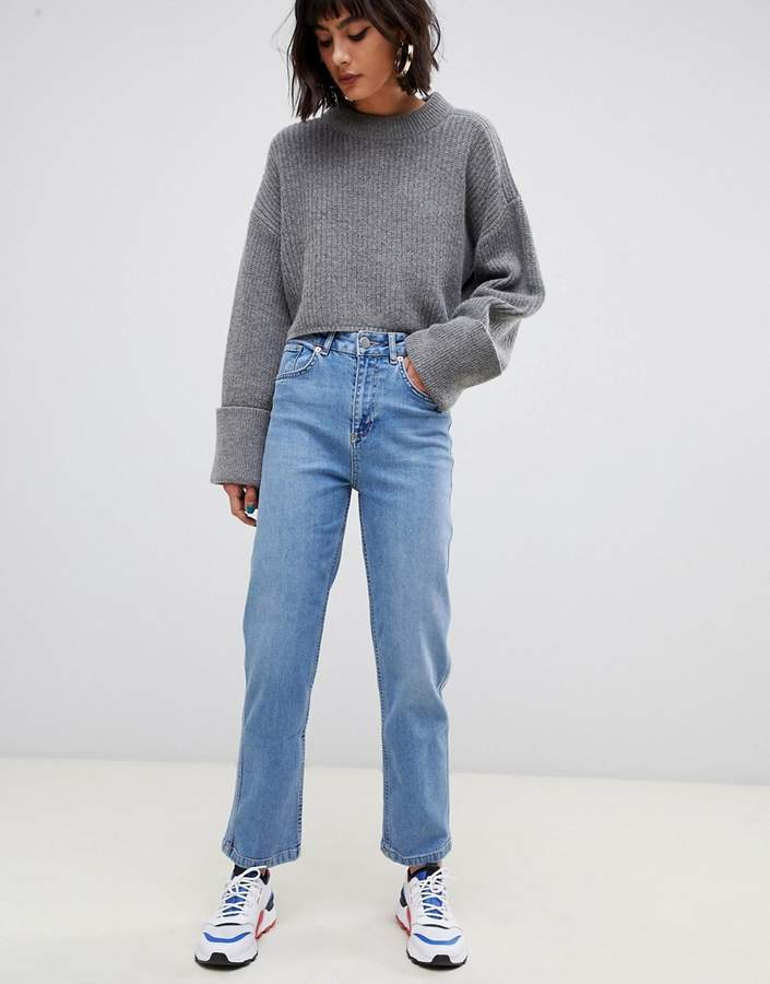 Asos Design DESIGN Farleigh high waisted straight leg jeans in stone wash blue