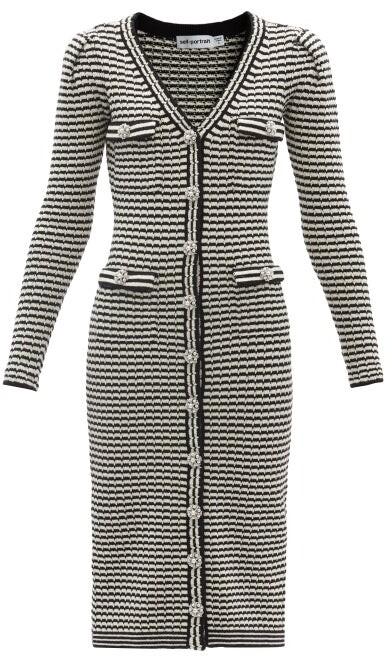 Self-Portrait Striped Cotton-blend Cardigan Dress - Black White