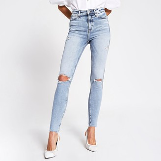 River Island Womens Blue ripped high rise skinny jeans