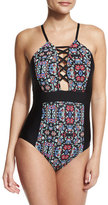 Ella Moss The Wanderer Lace-Up One-Piece Swimsuit