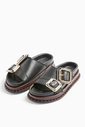 Topshop PIA Black Buckle Footbed Sandals
