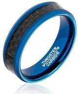 Tungsten Carbide Ring 6MM Carbon Fiber Inlay Matte Finish Edges Size 9.5 Epinki