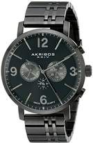 Akribos XXIV Men's AK782BK Multifunction Swiss Quartz Movement Watch with Black Dial and Black Stainless Steel Bracelet