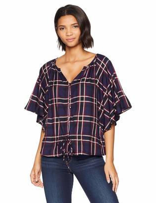 Michael Stars Women's Woven Plaid Cascade Sleeve Top