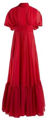 Giambattista Valli Cut-out Silk Crepe De Chine Gown - Womens - Fuchsia