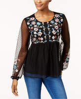 Style&Co. Style & Co Embroidered Swiss Dot Mesh Blouse, Created for Macy's