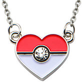 Pokemon Pokeball Stainless Steel Enamel Heart Necklace