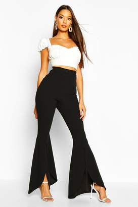 boohoo Curved Split Front Stretch Crepe Trouser