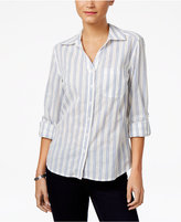 Style&Co. Style & Co Petite Cotton Striped Shirt, Only at Macy's