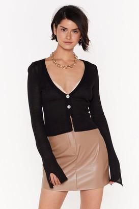 Nasty Gal Womens Right Sheer Waiting Button-Down Knit Cardigan - Black - 4