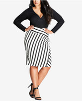 City Chic Trendy Plus Size Striped Pencil Skirt