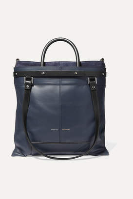 Proenza Schouler Ps19 Small Two-tone Leather And Suede Tote - Navy