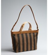 Fendi tan, brown and tobacco logo stripe canvas and leather convertible large tote bag