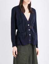Sacai Striped cotton cardigan