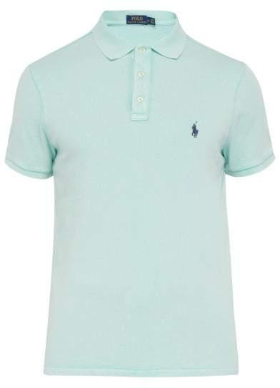 Polo Ralph Lauren Logo Embroidered Cotton Terry Polo Shirt - Mens - Light Green