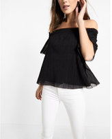 Express ribbed smocked scoop neck blouse