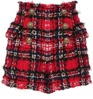 Balmain High Waist Tartan Tweed Shorts W/ Button