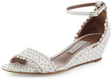 Tabitha Simmons Juniper Eyelet Wedge Sandal, White