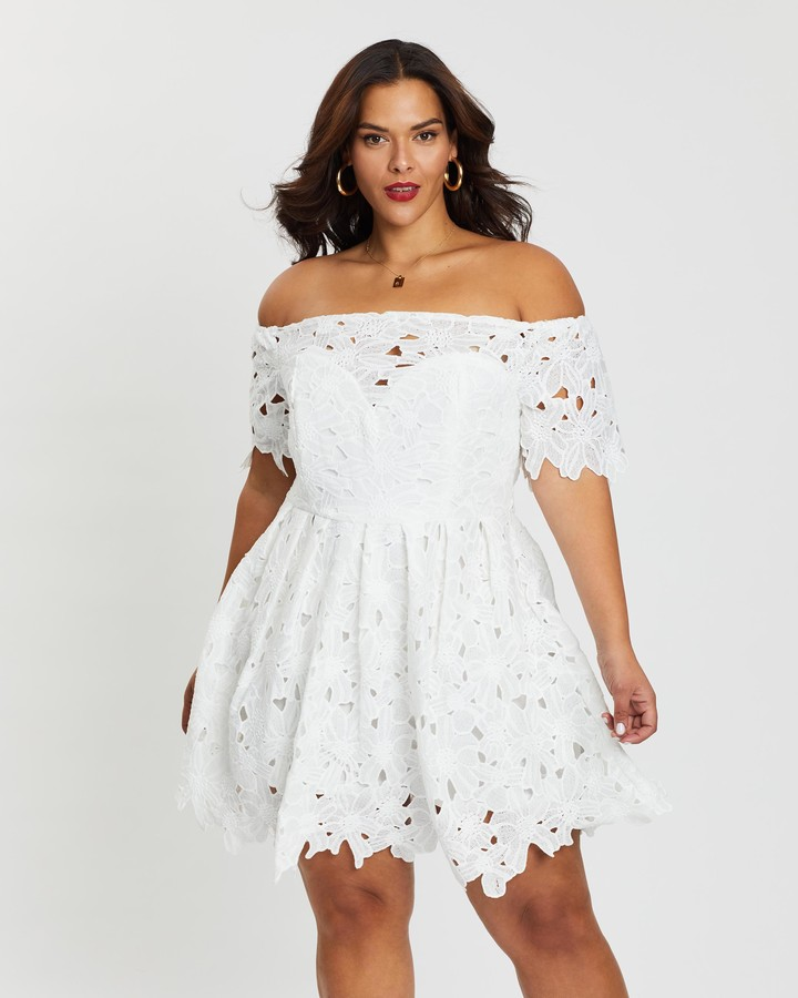 boohoo Boutique Off-The-Shoulder Lace Skater Dress