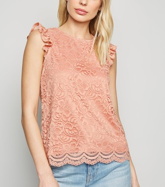 New Look Lace Frill Scallop Trim Blouse