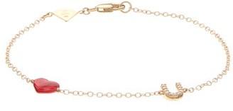 Alison Lou Love U Diamond & 14kt Gold Charm Bracelet - Gold