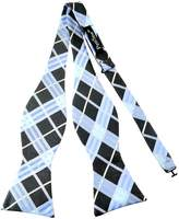 Pense'e PenSee Mens Self Bow Tie Blue & Black Multi-color Plaids Woven Silk Bow Ties