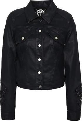 Elie Tahari Meggy Guipure Lace-trimmed Coated-denim Jacket