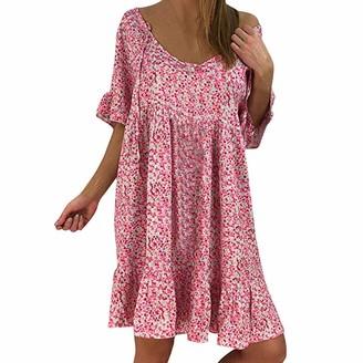 CUTUDE Women Round Neck Short Sleeve Skirt Ladies Ruffle Print Chiffon Loose Dress (Pink M)