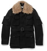Dries Van Noten Faux Shearling-Trimmed Wool Coat