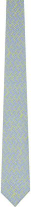 Dunhill Blue and Yellow Silk Abstract Signature Tie