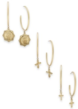 Thalia Sodi Gold-Tone 3-Pc. Set Cross Charm Hoop Earrings, Created for Macy's