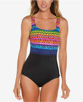Reebok Summer Solstice Printed Tummy-Control One-Piece Swimsuit