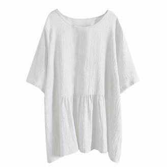 Lazzboy Women Lazzboy Shirt Tunic Women Linen Solid Batwing Short Sleeve Plus Size UK 8-16 Long Blouse Tops(L(12)