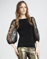 Alice + Olivia Hunter Lace-Sleeve Top