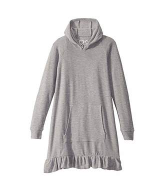 Chaser Cozy Knit Long Sleeve Hooded Ruffle Hem Dress (Little Kids/Big Kids)