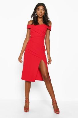 boohoo Tall Off The Shoulder Midi Dress