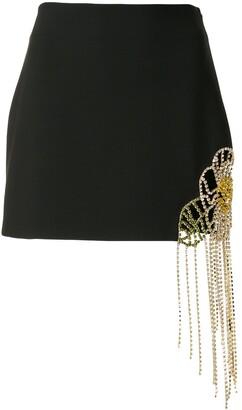 Area Fringe Crystal Mini Skirt
