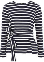 J.Crew Striped Cotton-jersey Top - Navy