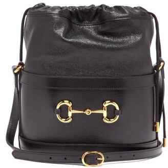 Gucci 1955 Horsebit Drawstring Leather Bucket Bag - Black