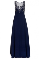 Quiz Navy Chiffon Embellished High Neck Tulle Maxi Dress