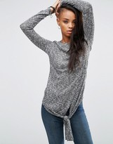Asos Top with Knot Detail in Chunky Rib