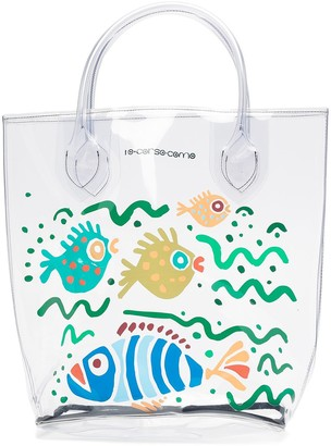 10 Corso Como Large Fish-Print Transparent Tote Bag