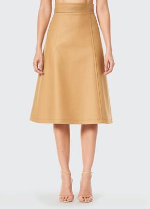 Carolina Herrera Virgin Wool A-Line Midi Skirt