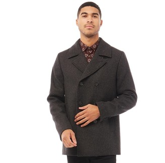 Ted Baker Mens Zachary Wool Peacoat Charcoal