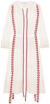 Altuzarra Grenelle Broderie Anglaise-trimmed Swiss-dot Cotton And Chiffon Midi Dress