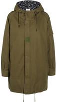 Saint Laurent Hooded Cotton And Ramie-blend Gabardine Parka - Army green